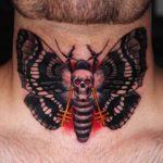 Skull Butterfly Tattoo on Nech