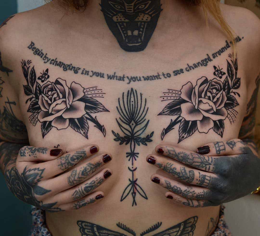 chest tattoo roses traditional