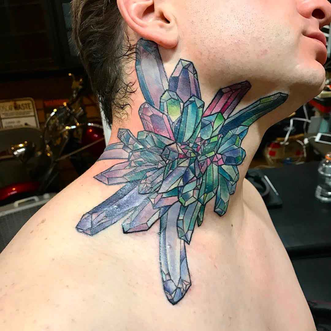 neck tattoo crystal