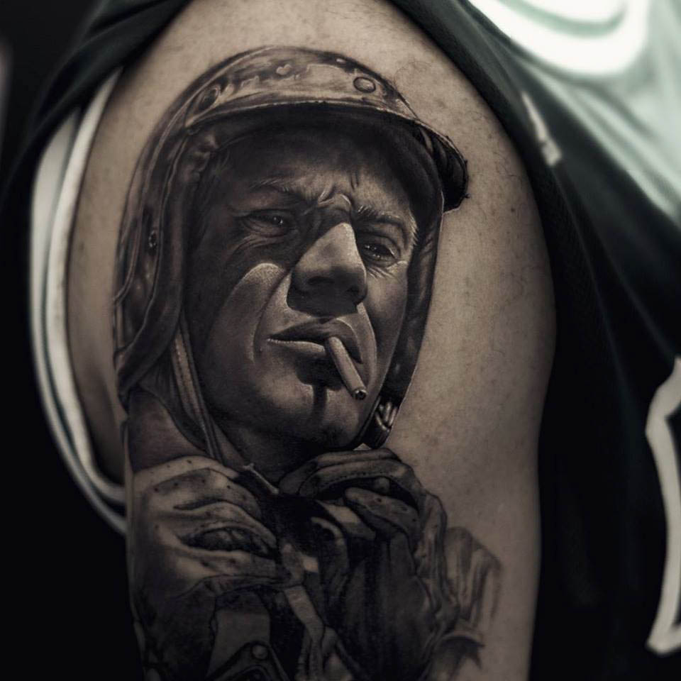 realistic portrait tattoo on shoulder black and grey