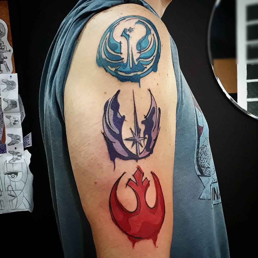 different style watercolor tattoos of rebel symbol star wars theme