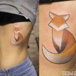 Simple Fox Tattoo on Ribs