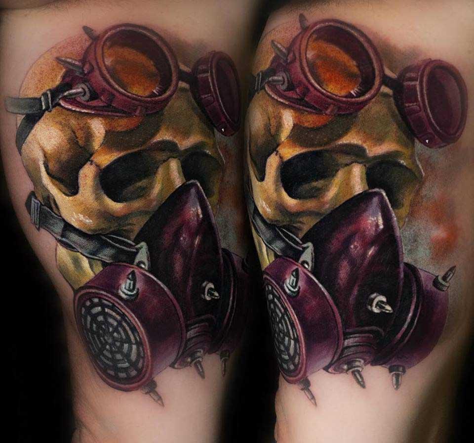 gas mask tattoo skull realistic