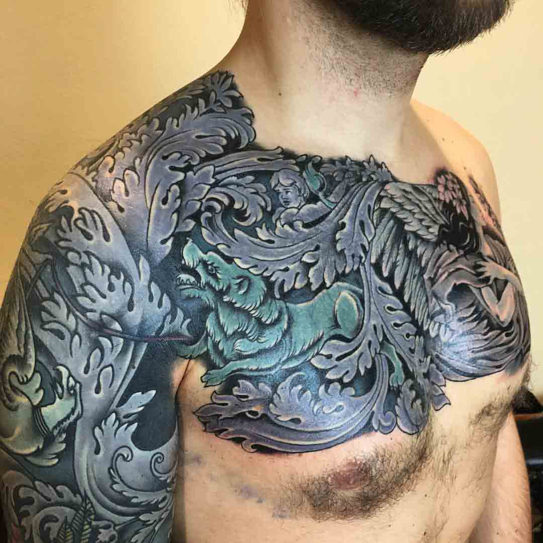 full chest and sleeve tattoo baroque