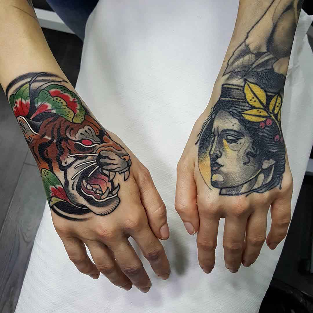 tiger and girl tattoos on hands