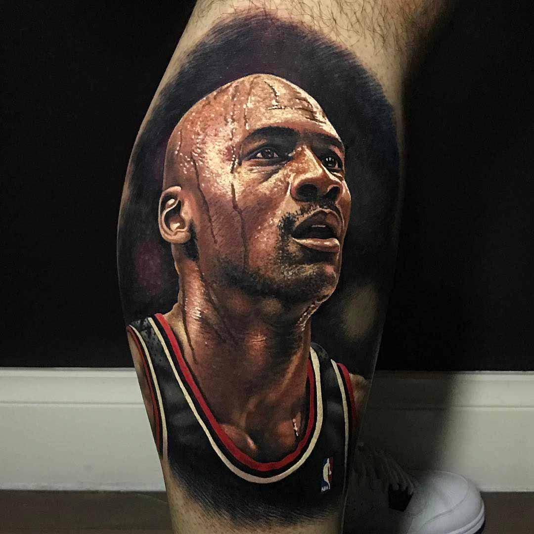 portrait tattoo Michael Jordan realistic