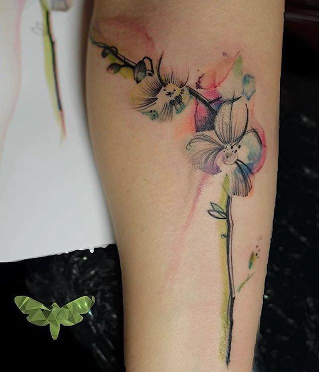 orchid tattoo watercolor flower