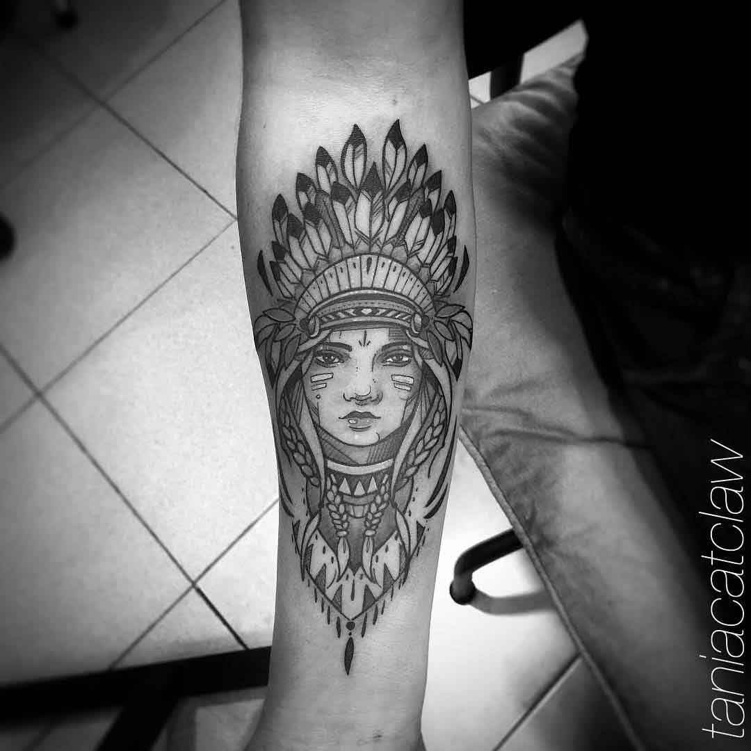 arm tattoo indian girl portrait