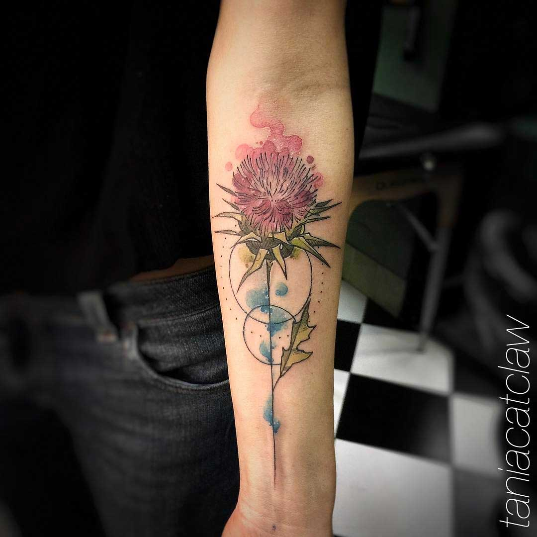 thistle tattoo watercolor style