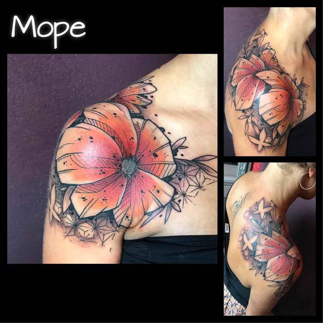 upper shoulder flowers tattoo