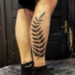 Minimalistic Fern Tattoo on Leg
