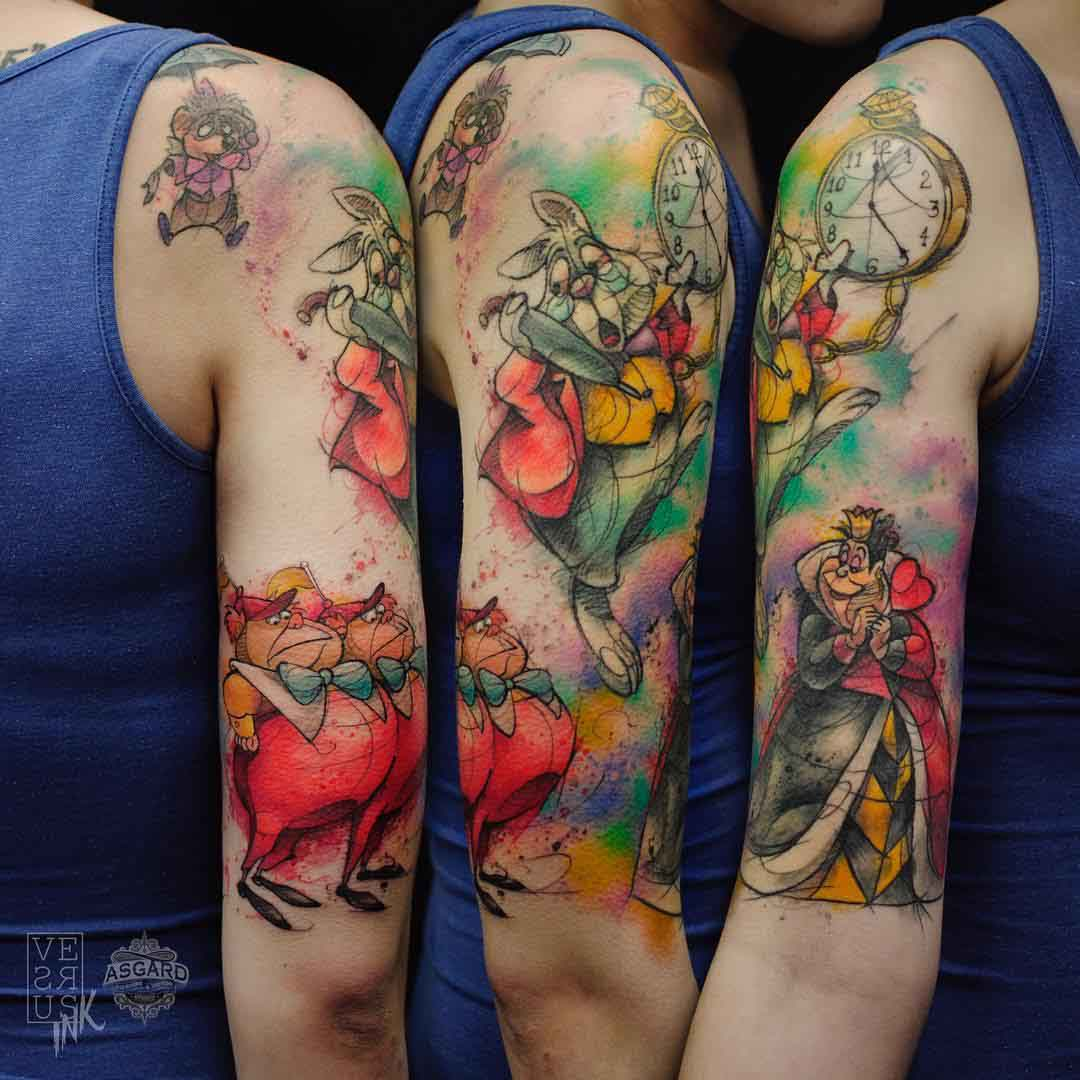 alice in wonderland tattoo colorful design