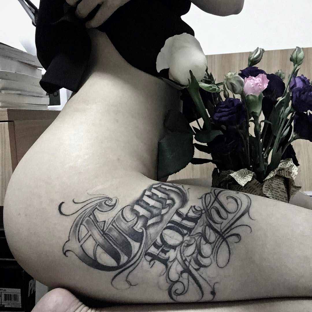 hip tattoo chicano style for girl