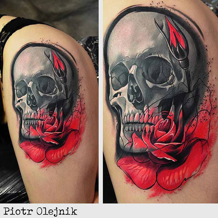 skull tattoo with red flower