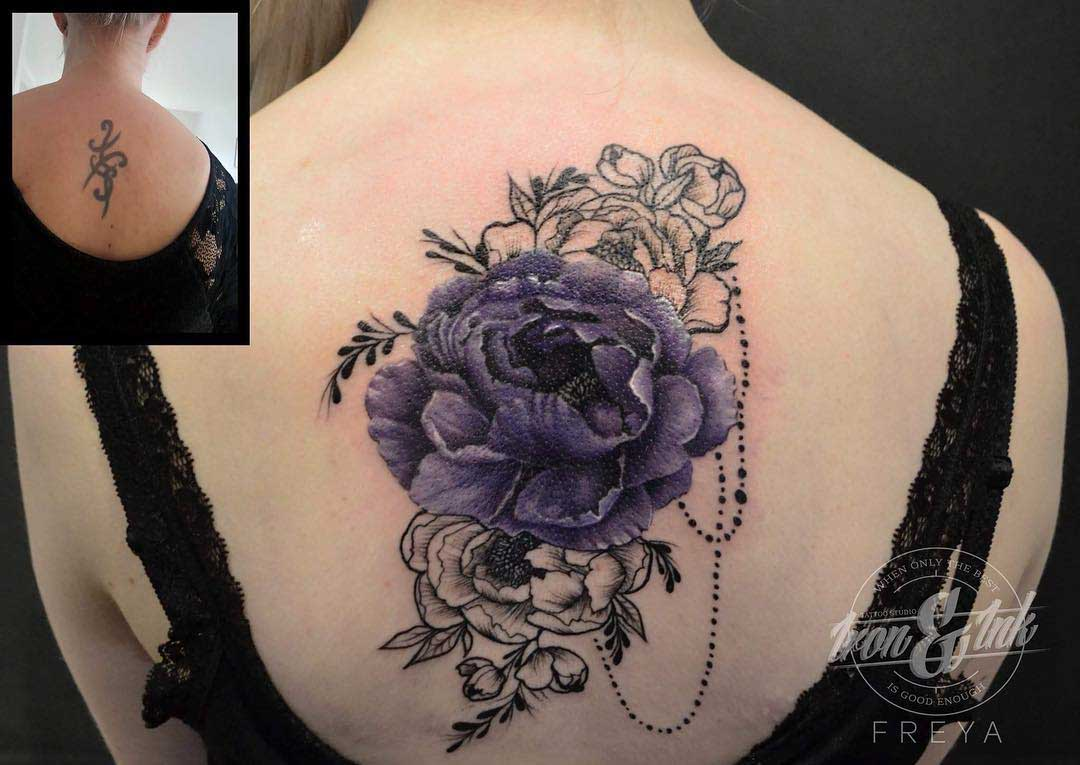 flowers tattoo cover-up on back