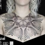 Girl Dotwork Tattoo on Chest