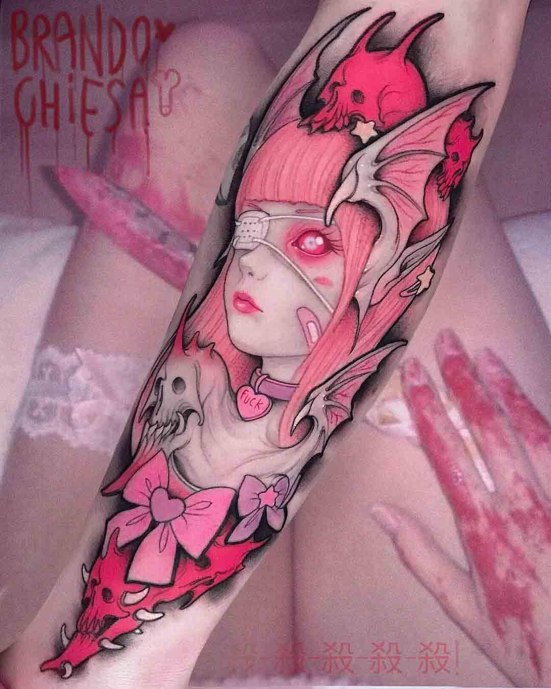pink tattoo on arm super sonico design
