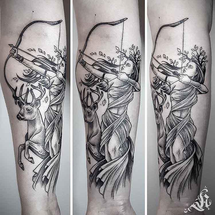 dotwork artemis tattoo on arm