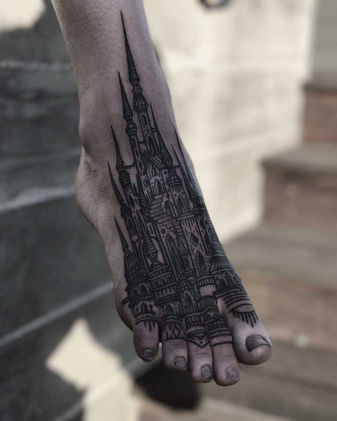 foot tattoo castle black