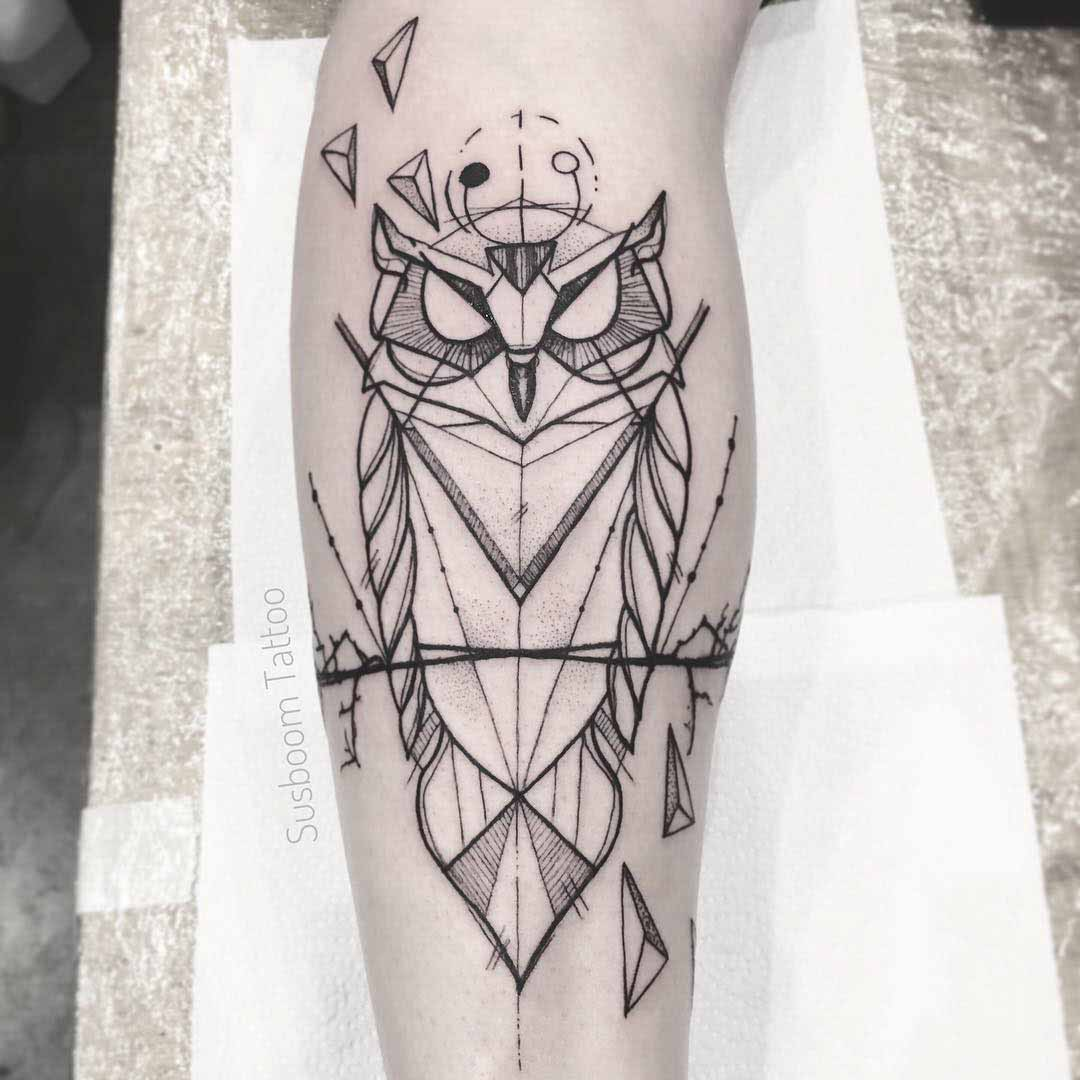 geometric owl tattoo polygonal