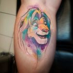Watercolor Lion KIng Tattoo