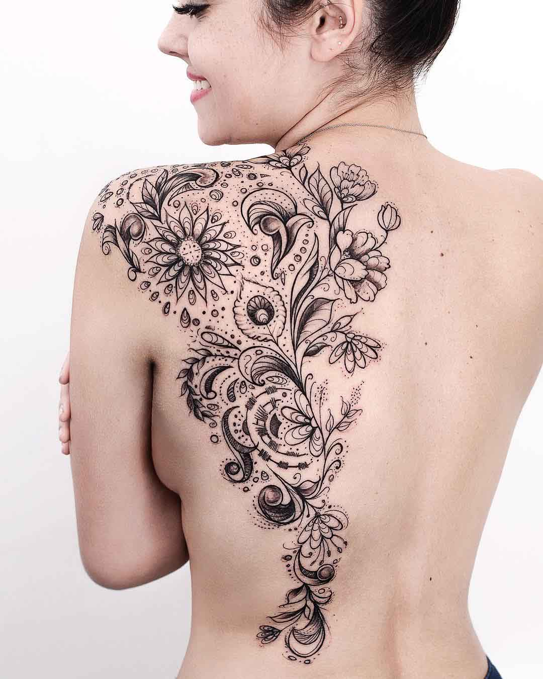 floral tattoo for girls on back