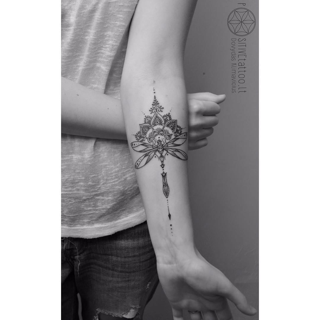 arm tattoo mehendi dragonfly