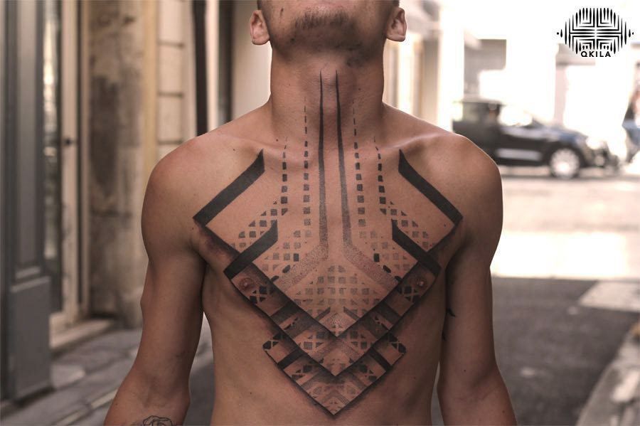 chest tattoo 3D geometry
