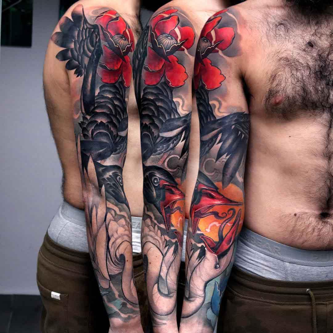 tattoo sleeve white swan vs black swan