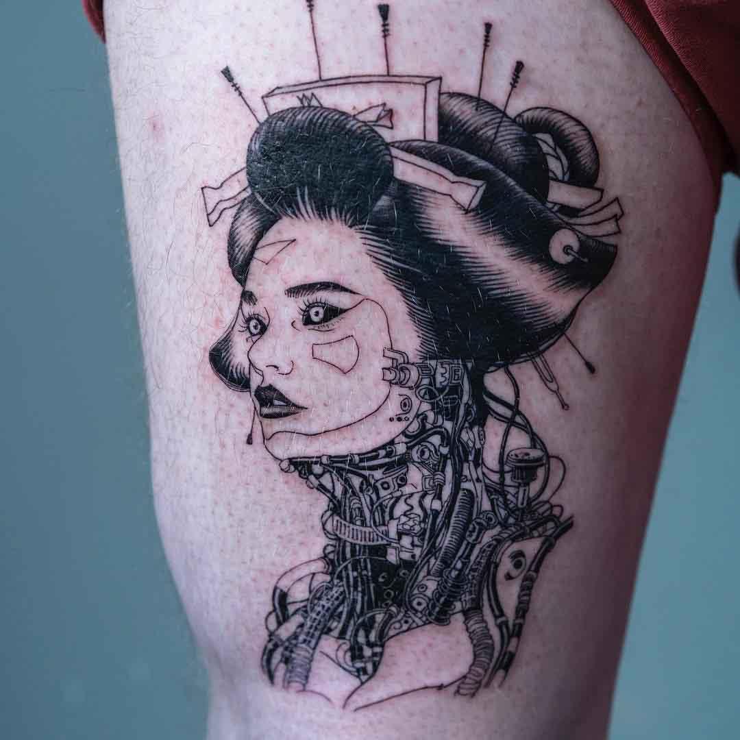 thigh geisha cyber tattoo