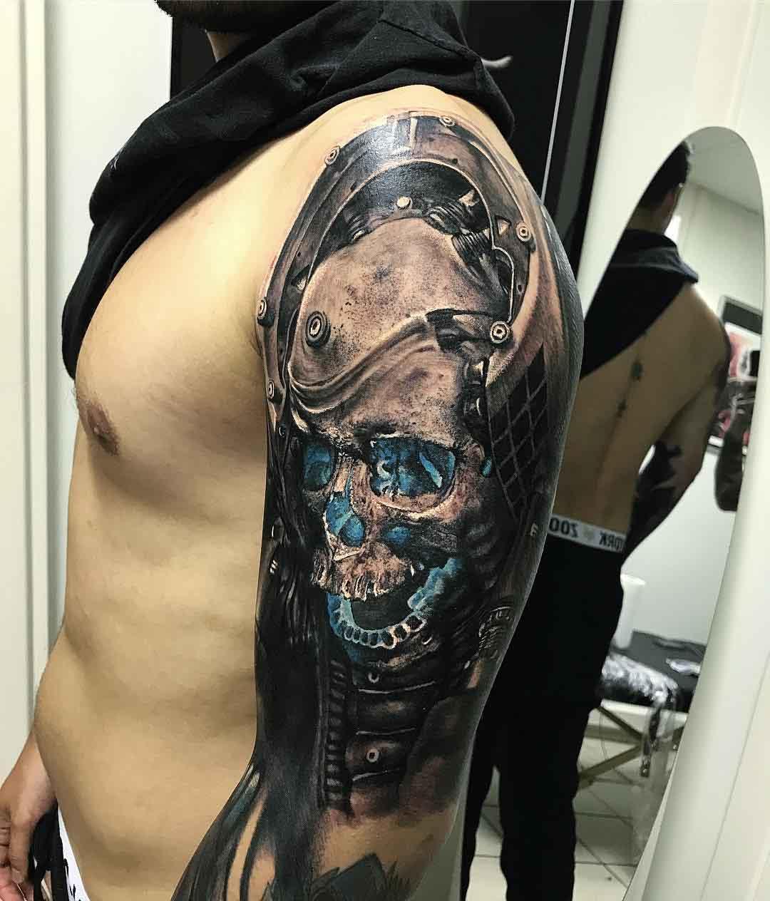 shoulder tattoo skull futuristic