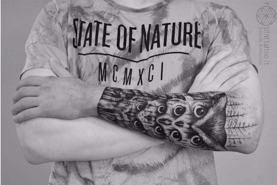 owls armband tattoo
