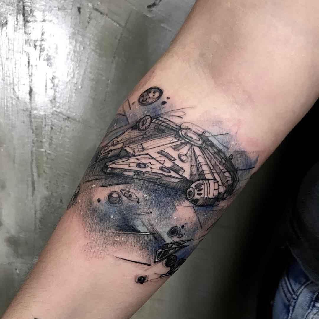 star wars tattoo millenial falcon