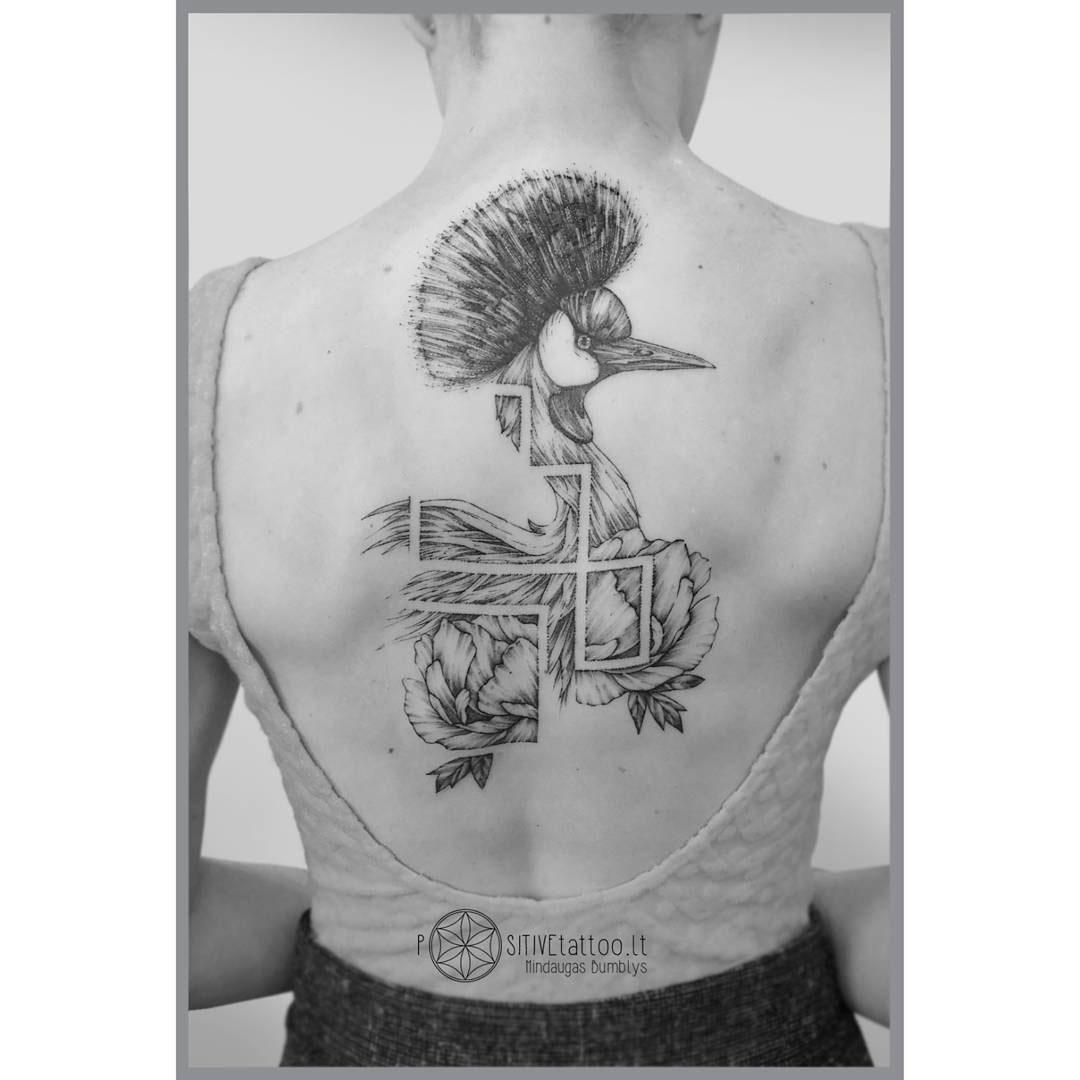 back tattoo peacock
