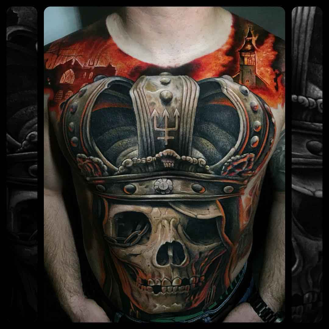torso tattoo skull with crown