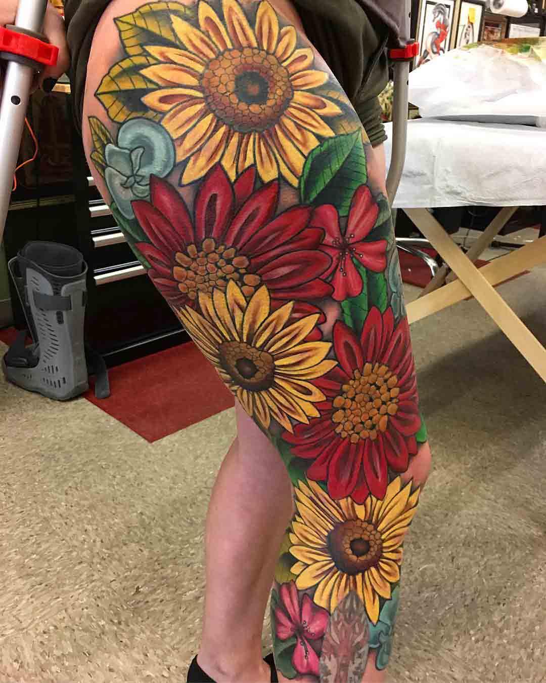 flowers leg tattoo sleeve