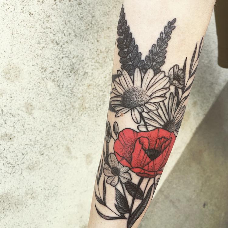 arm floral tattoo