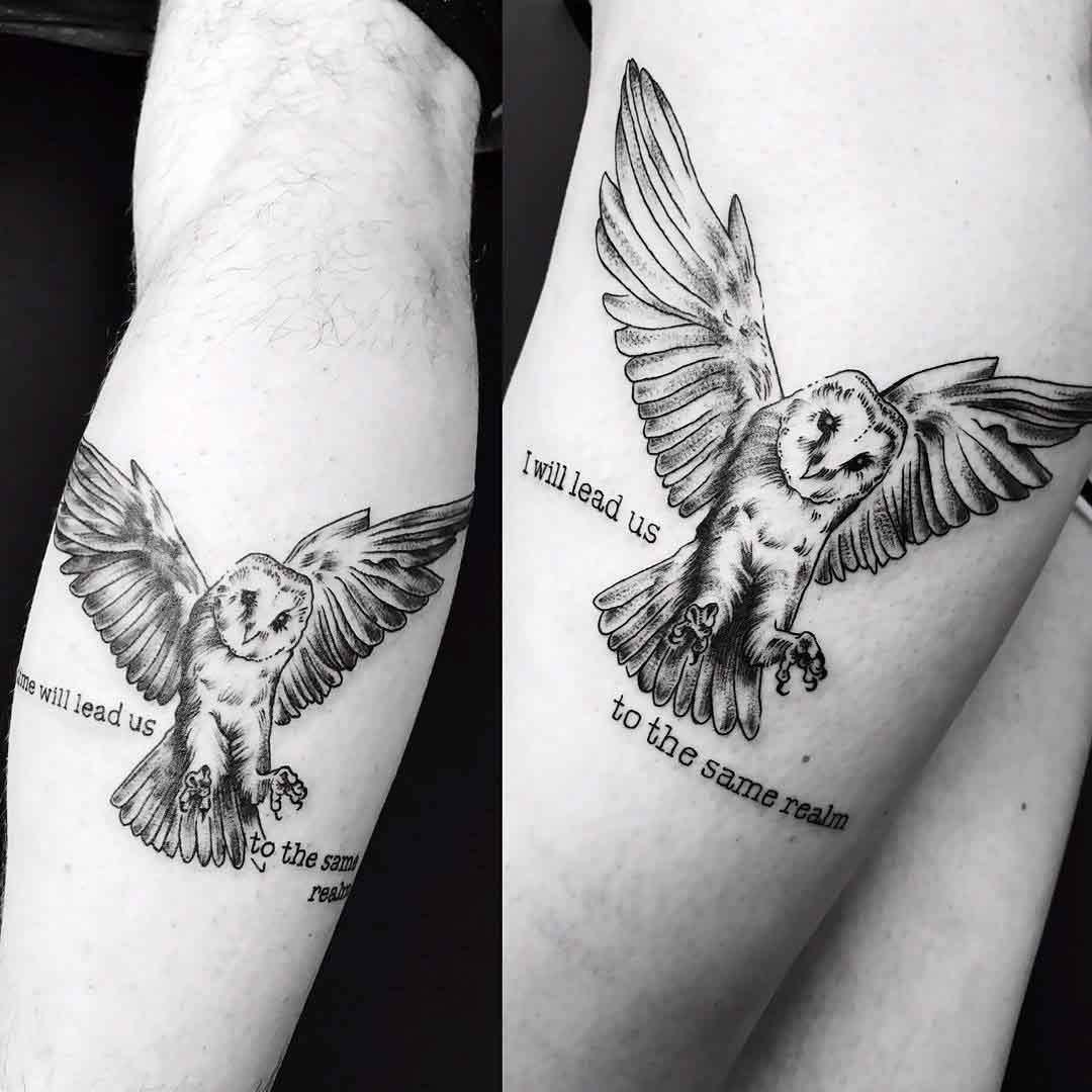 two matching owl tattoos with lettering