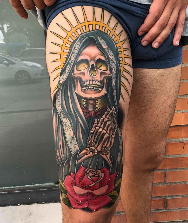 thigh tattoo Santa Muerte