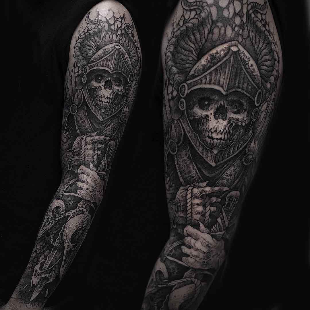 tattoo sleeve death knight skeleton