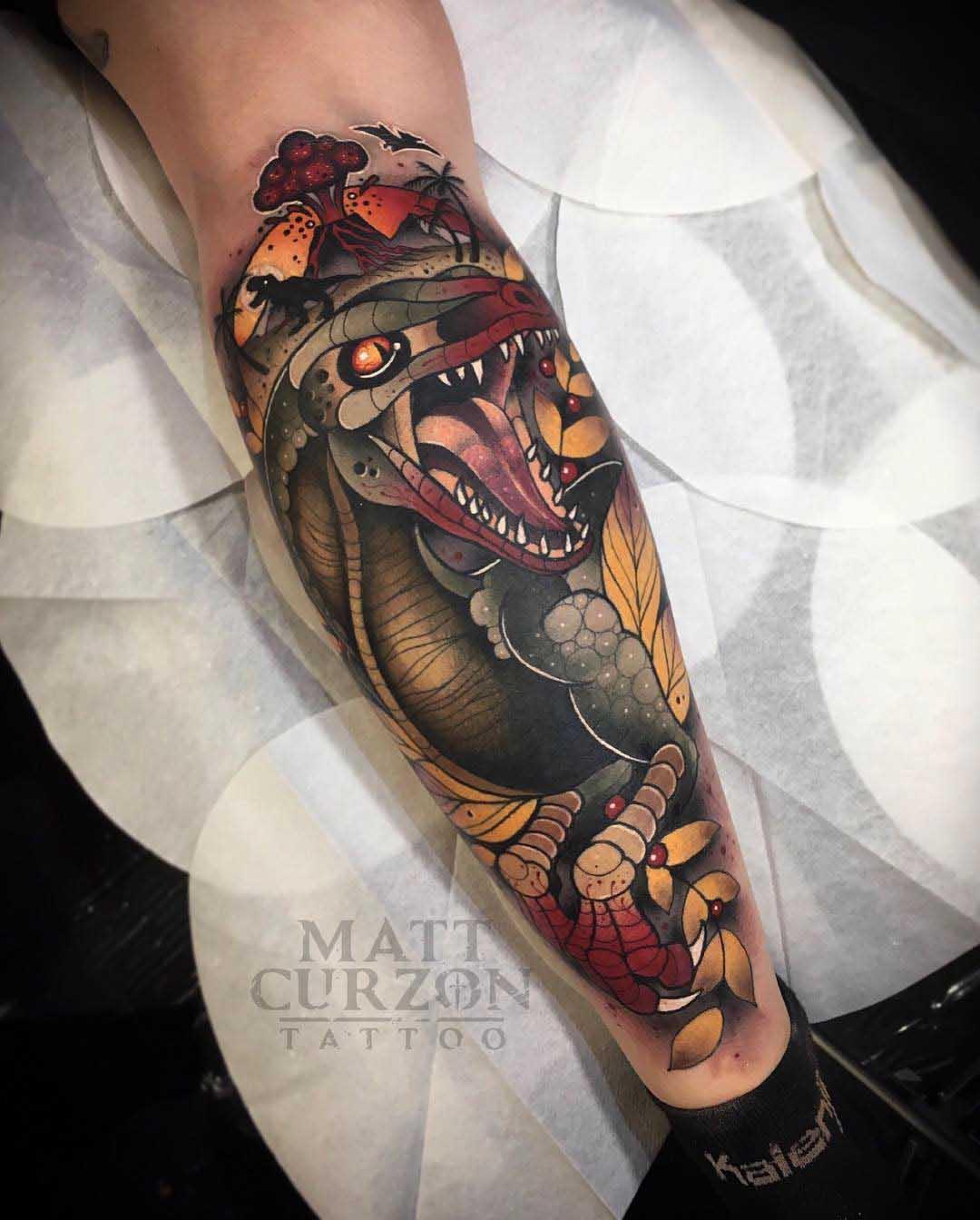 neo-traditional tattoo dinosaur
