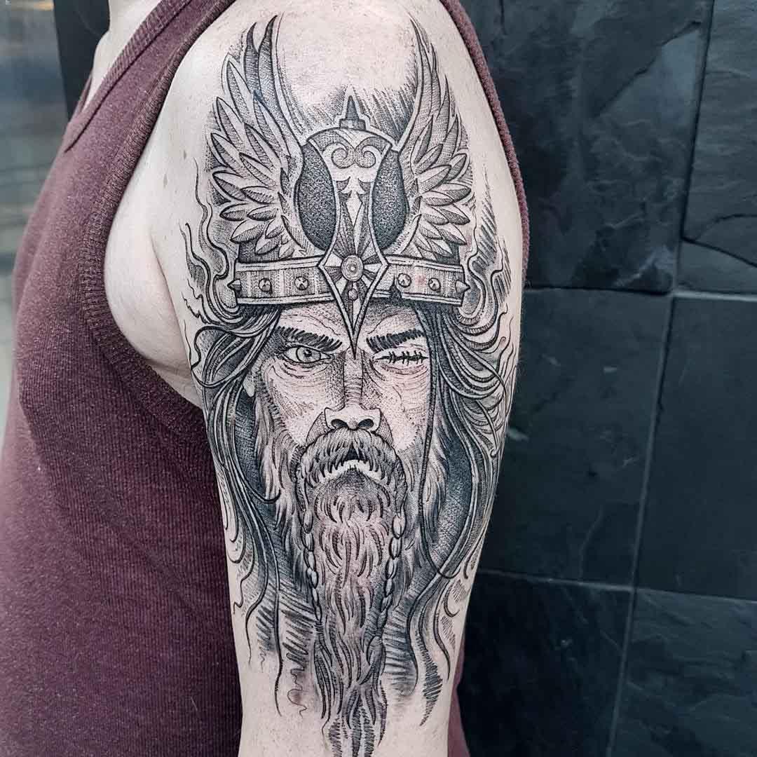 shoulder Odin tattoo