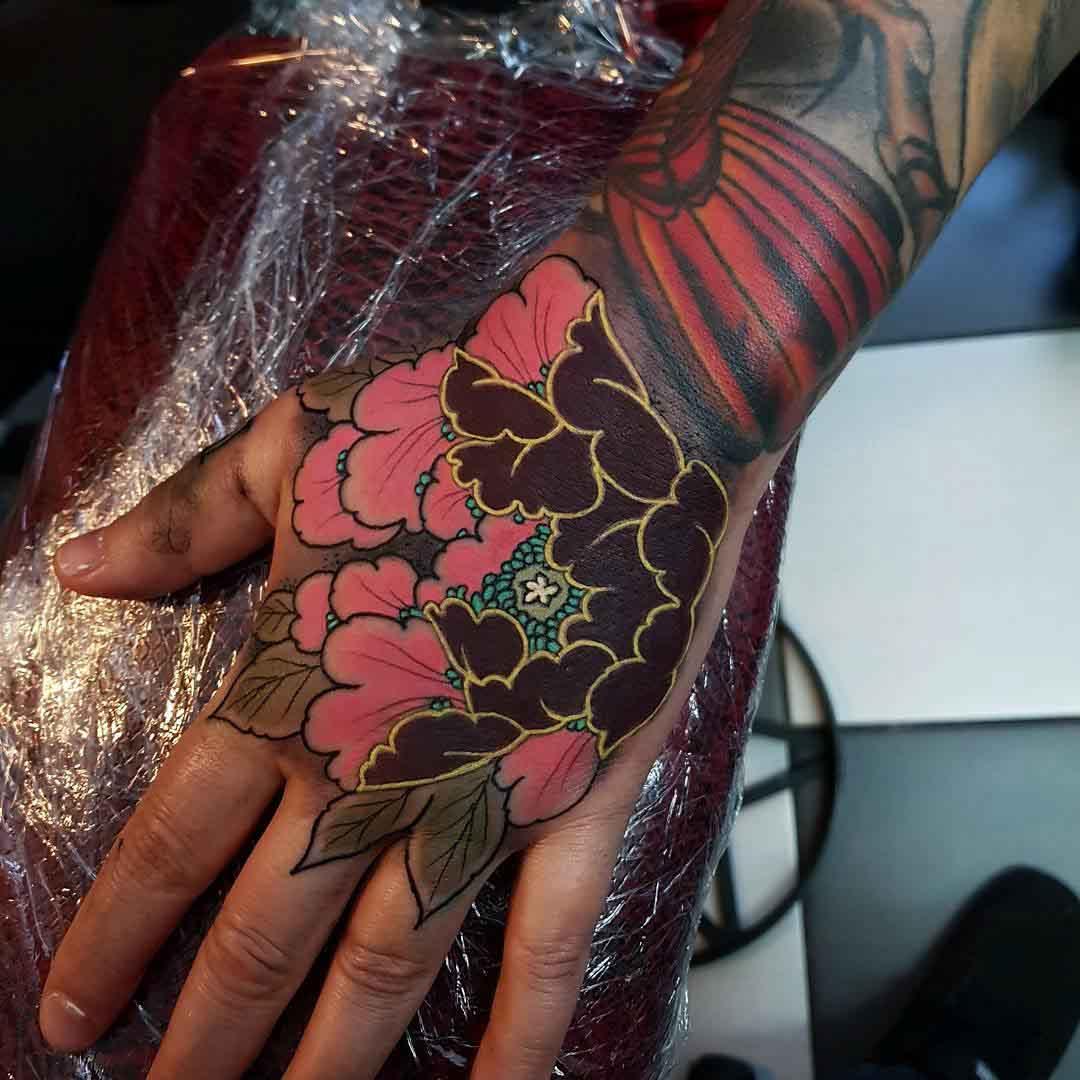 hand tattoo flower oriental style