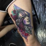 Raven Girl Tattoo on Thigh
