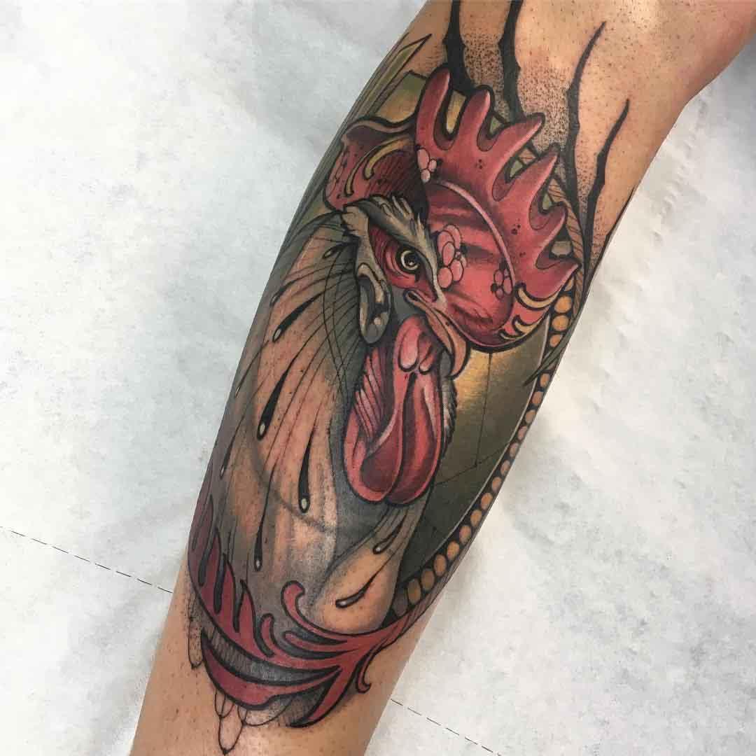 big rooster tattoo