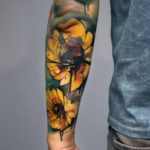Watercolor Sunflowers Tattoo on Forearm