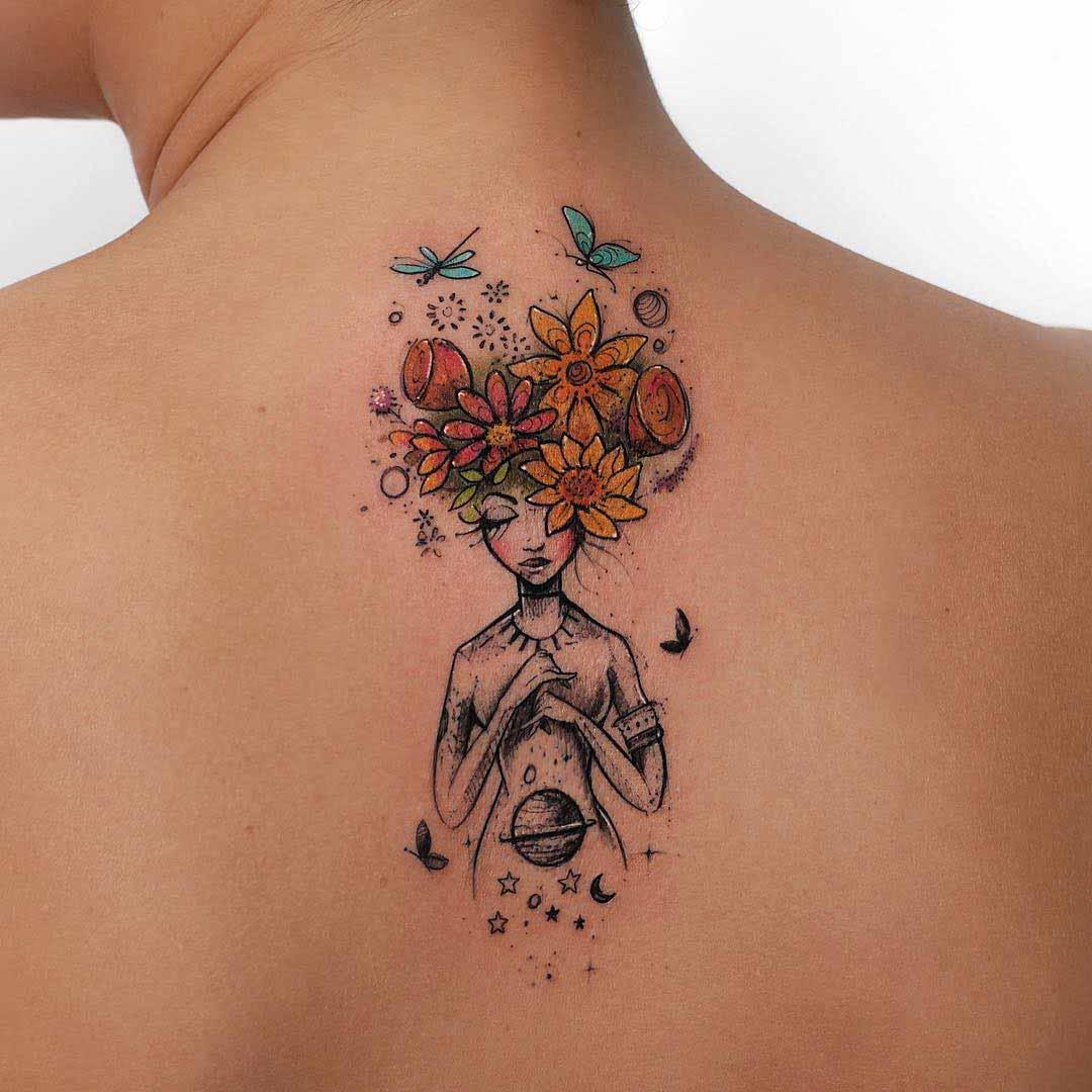 upper back flowers girl tattoo