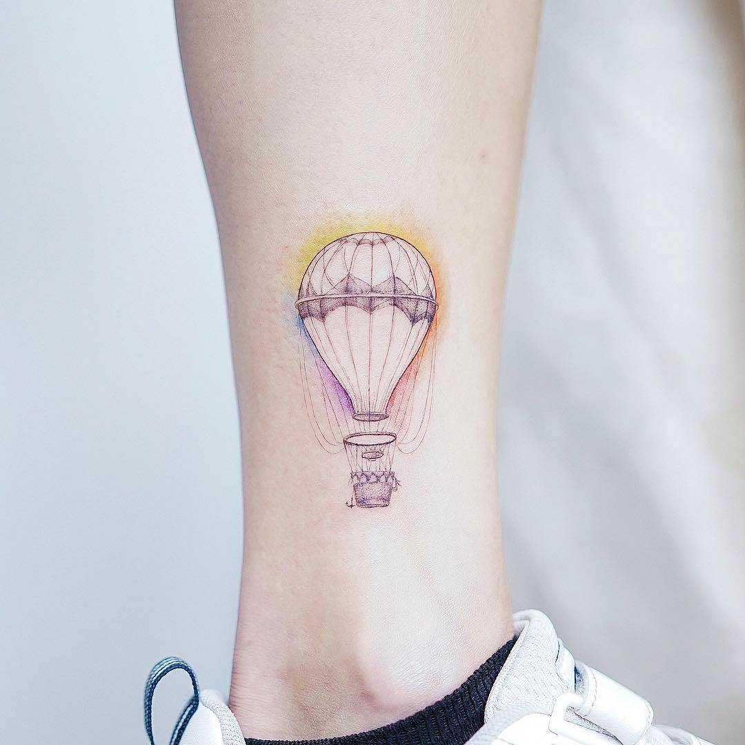 ankle tattoo air balloon