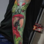 Realistic Red Parrot Tattoo