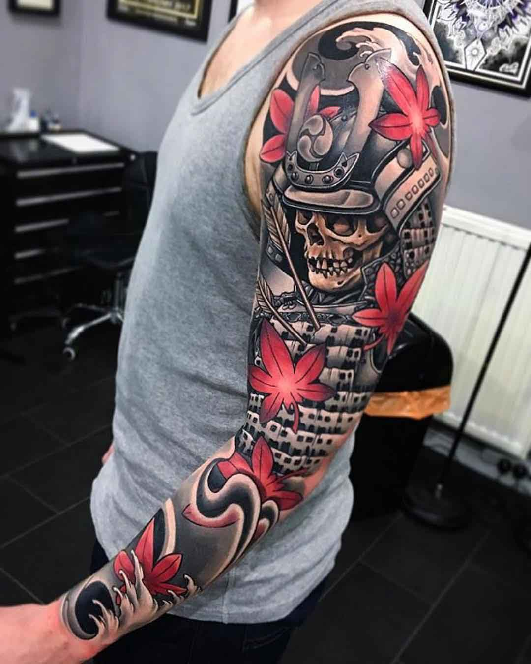 tattoo sleeve samurai skeleton